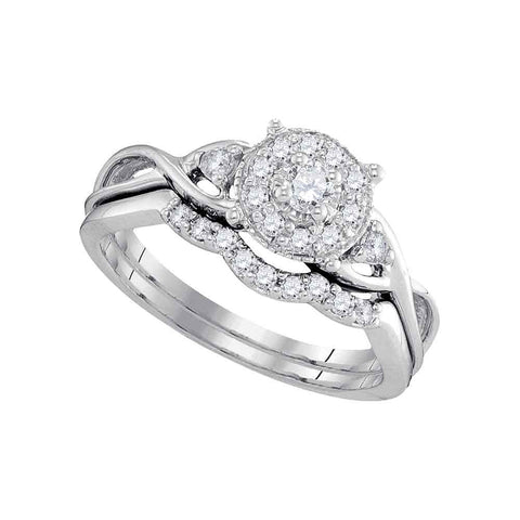 10k White Gold Round Diamond Cluster Womens Bridal Wedding Engagement Ring Band Set 1/3 Cttw