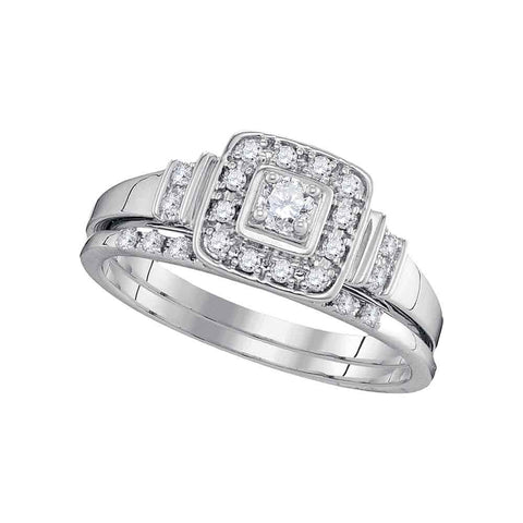 10k White Gold Round Diamond .06 Ct Solitaire Womens Square Halo Wedding Bridal Ring Set 1/3 Ctw
