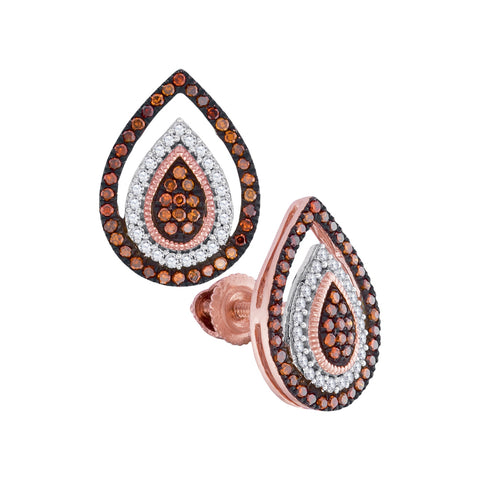 10kt Rose Gold Womens Round Red Colored Diamond Framed Teardrop Cluster Earrings 1/3 Cttw