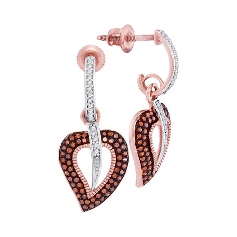 10kt Rose Gold Womens Round Red Colored Diamond Heart Dangle Screwback Earrings 3/8 Cttw