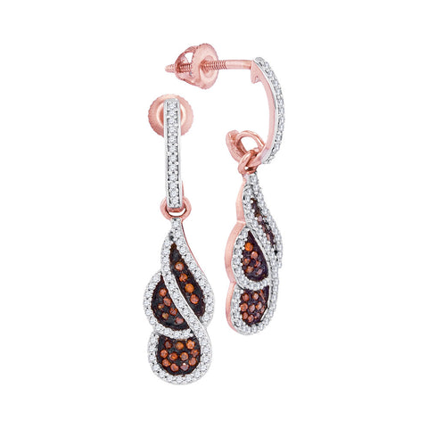 10kt Rose Gold Womens Round Red Colored Diamond Cluster Dangle Earrings 3/8 Cttw