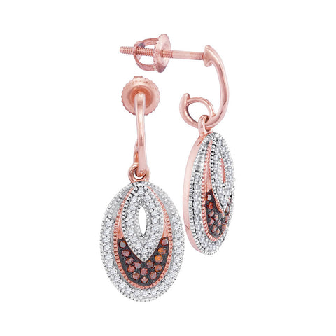 10kt Rose Gold Womens Round Red Colored Diamond Oval Dangle Screwback Earrings 1/3 Cttw