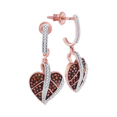 10kt Rose Gold Womens Round Red Colored Diamond Heart Dangle Screwback Earrings 1/3 Cttw