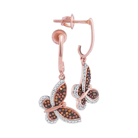 10kt Rose Gold Womens Round Red Colored Diamond Butterfly Bug Screwback Dangle Earrings 1/4 Cttw