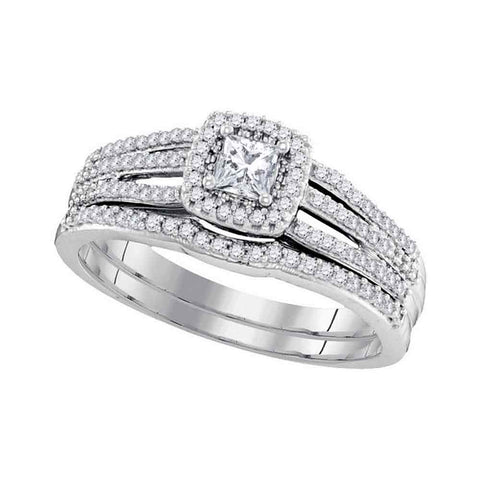 10k White Gold Womens Princess Diamond Bridal Wedding Engagement Ring Band Set 1/2 Cttw