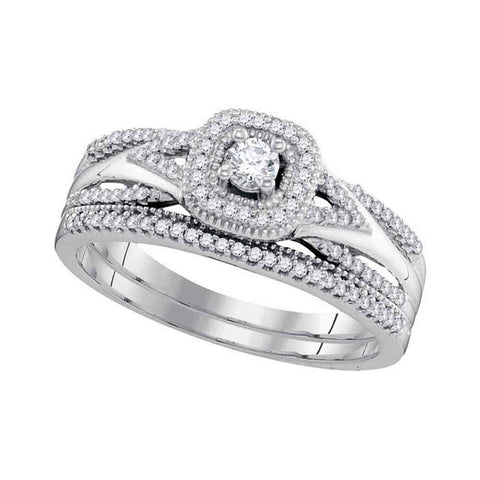 10k White Gold Round Diamond Bridal Wedding Engagement Ring Band Set 1/3 Cttw