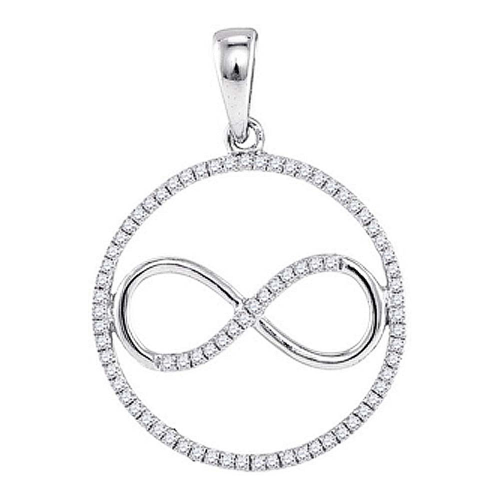 10K White Gold Women's Round Real Diamond Infinity Fashion Charm Pendant 1/3 CT