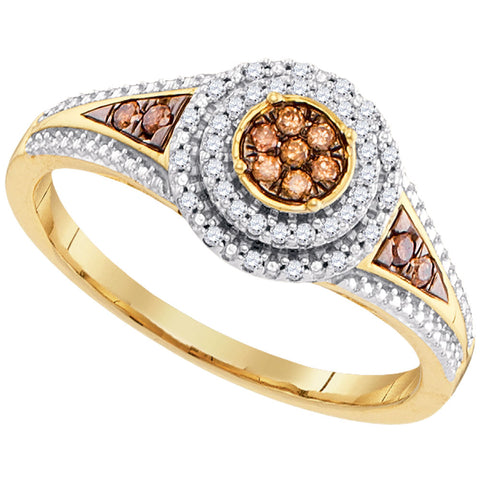 10K Yellow Gold Ladies Round Cognac-brown Colored Diamond Cluster Ring 1/5 CT