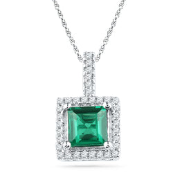 10kt White Gold Womens Cushion Lab-Created Emerald Solitaire & Diamond Pendant 1-3/8 Cttw
