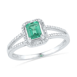 10kt White Gold Womens Lab-Created Emerald Solitaire Diamond Split-shank Ring 1-1/2 Cttw