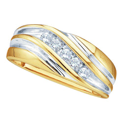 10kt Yellow Two-tone Gold Mens Round Diamond Wedding Anniversary Band Ring 1/4 Cttw