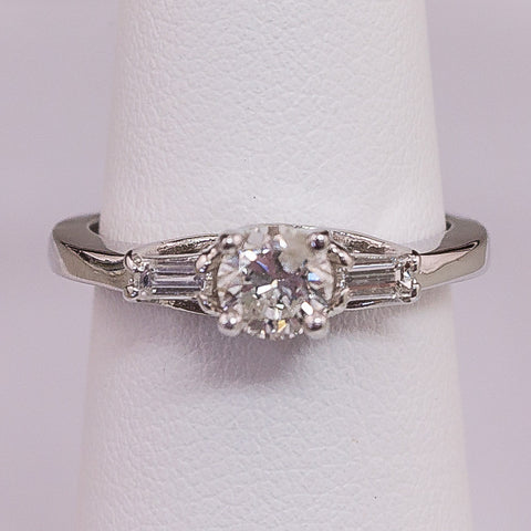 14K White Gold 3 Stone .40CT center   .16CT Baguette = .56TW Ring
