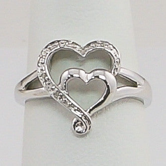 10K White Gold .05CT Heart  Diamond Ring