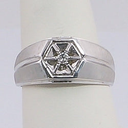 APPX. .07PTS White Gold Gents Ring 10K