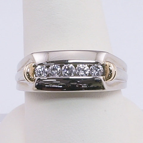 14K White Gold & Yellow Gold  5 Diamond Gents Ring