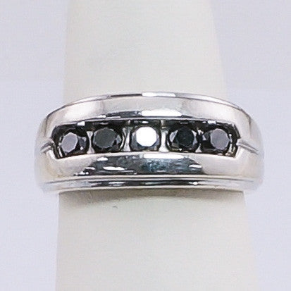 Sterling Silver & Five Black  Diamond Gents Ring