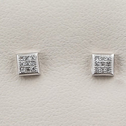 10K White Gold .05CT Diamond Earrings