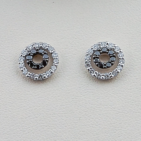 14K White Gold .50CT Black & White Diamond Earrings
