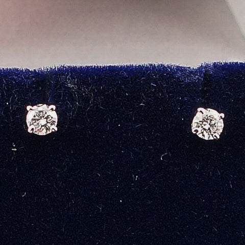 14K White Gold .33CTW Round Diamond Stud Earrings