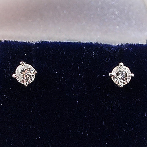 14K White Gold .75CTW Round Diamond Stud Earrings