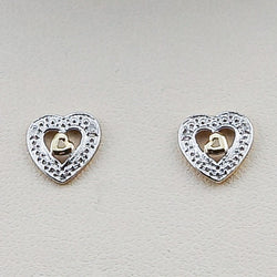 10K Yellow Gold .03CT Diamond Earrings Heart