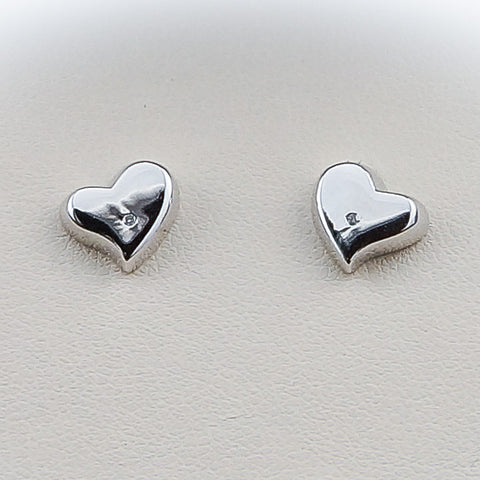 Sterling Silver White Ice Diamond Heart Earrings