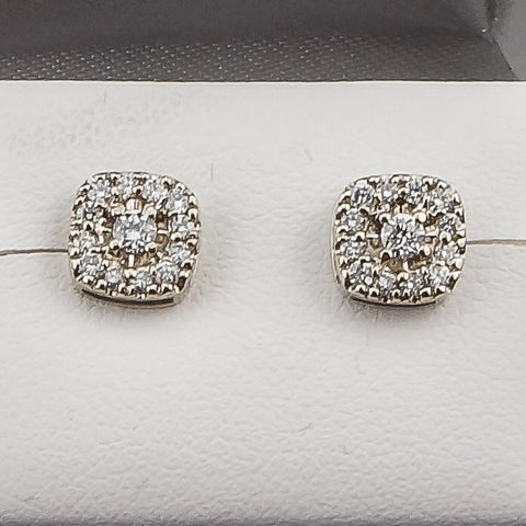 14K White Gold .19CT Diamond Fashion Earrings