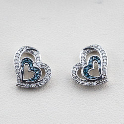 Sterling Silver Blue & White Diamond Heart Post Earrings