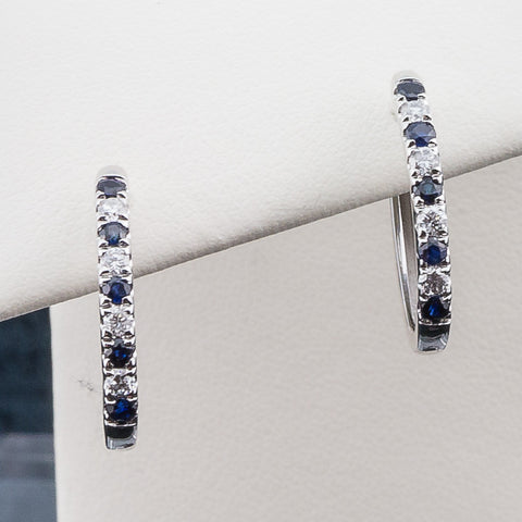 10K 0.23CT White Gold Sapphire/DiamondEarrings
