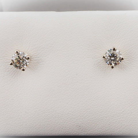 14K White Gold 1.00CT TWT 5MM Round Diamond Hybrid Earrings