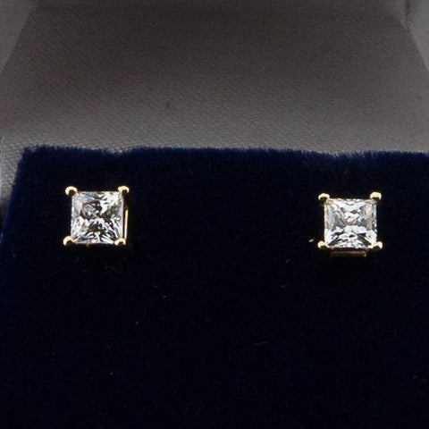 14K Yellow Gold .70CTW Princess Cut Diamond Hybrid Earrings 4MM