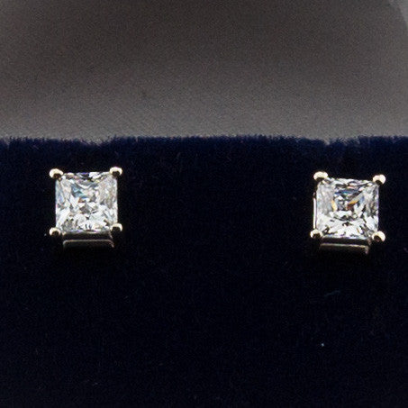 14K White Gold 1.00CTW Princess Cut Diamond Hybrid Earrings 4.5MM