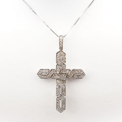 1.00CTS White Gold Diamond Cross