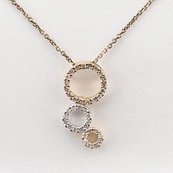 14K Yellow Gold .20CT Diamond 3 Circle Necklace