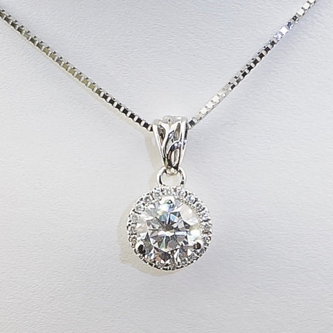 14K White Gold Diamond .12CT Center Diamond Hybrid.75CT Diamond Pendant