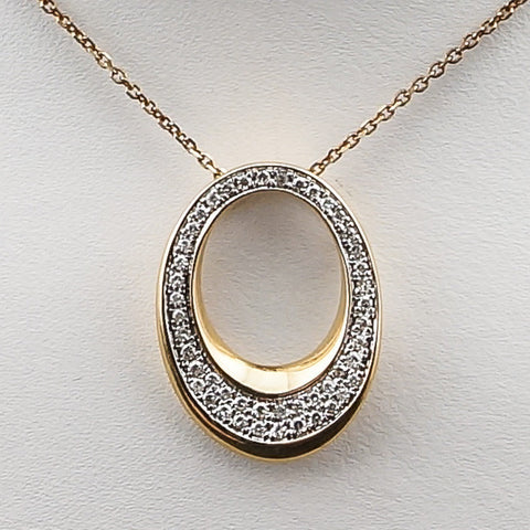 14K Yellow Gold .16CT Diamond Oval Pendant