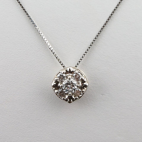 14K White Gold .23CT Diamond Fashion Pendant