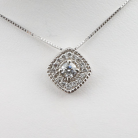14K White Gold .28CT Diamond Fashion Pendant