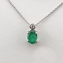 14KW .01CT Diamond .35 Emerald Pendant