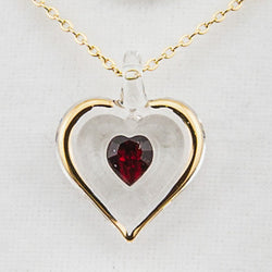 "January Gold Trim Swarovski BS Heart W/18"" Chain"