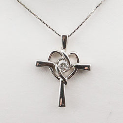 14K White Gold .15PT Diamond Cross Pendant