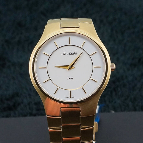 St.Andre Stainless Steel Yellow Tone White Face Watch