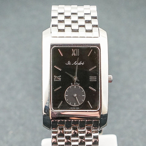 St.Andre Stainless Steel Square Black Face Gents Watch