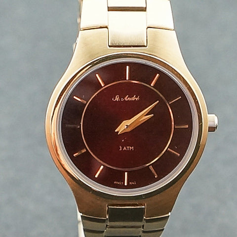 St.Andre Stainless Steel Round Dark Red Yellow Tone Ladies Watch