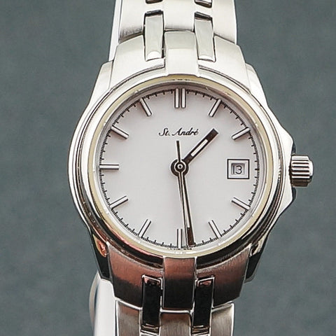 10ATM Ladies Stainless Steel Round White Face St.Andre Watch