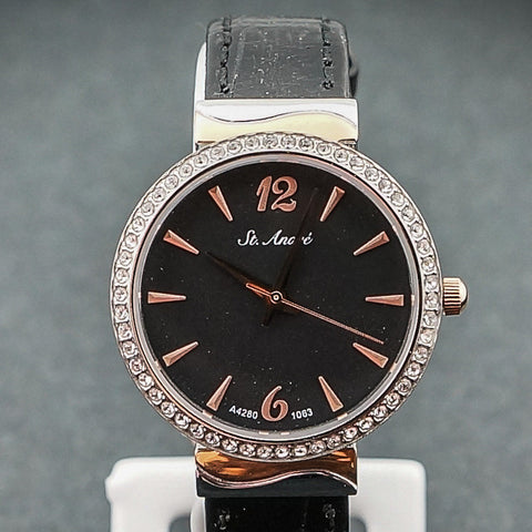 St.Andre Black & Rose Gold Face W/Black Band Ladies Watch
