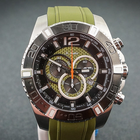 St.Andre Stainless Steel Green Strap Green/Black Face Watch