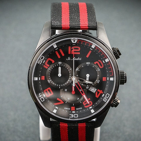 St.Andre Gents Watch 10ATM Chrono Black & Red