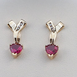 14K Yellow Gold Synthetic Ruby Heart Earrings