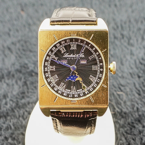 Gents Leather Gold Tone Watch